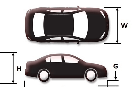 Car dimensions for robotic parking design