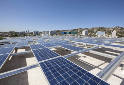 Solar panels on the roof of WeHo City Hall automated parking building